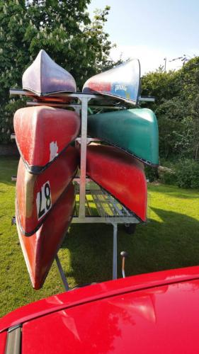 8 boat canoe trailer view from front