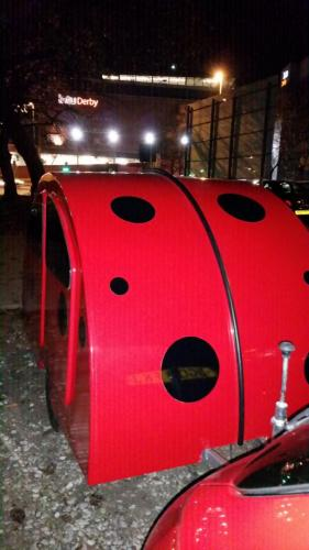Lady bird hits the town. . well, Derby is a city now